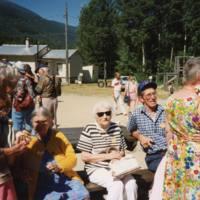 Josie Adams, Jean Charlotte, Barb and Jim McNichol, and Margie Davis at the Dunster 75th Anniversary Celebration